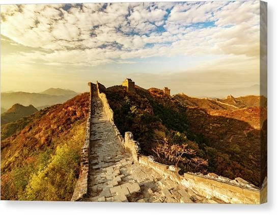 Great Wall Of China And Jinshanling Canvas Print by Adam Jones
