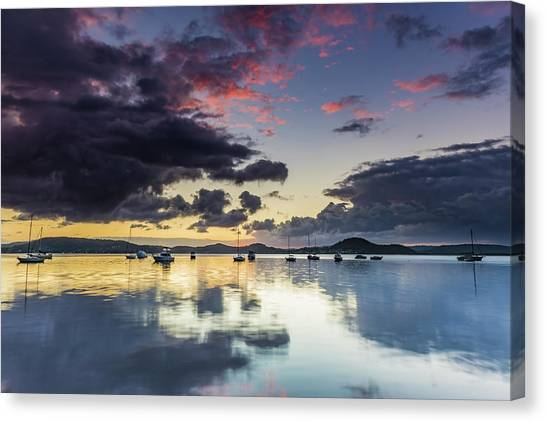 Overcast Morning On The Bay With Boats Canvas Print