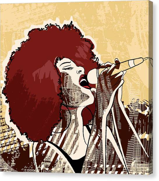 Singer Canvas Print - Vector Illustration Of An Afro American by Isaxar