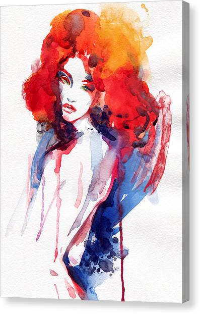 Fitness Canvas Print - Woman . Hand Painted Fashion by Anna Ismagilova