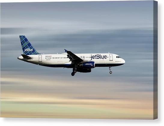 Jetblue Canvas Print - Jetblue Airways Airbus A320-232 by Smart Aviation
