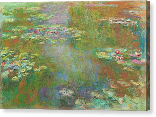 Canvas Print featuring the digital art Water Lily Pond by Claude Monet