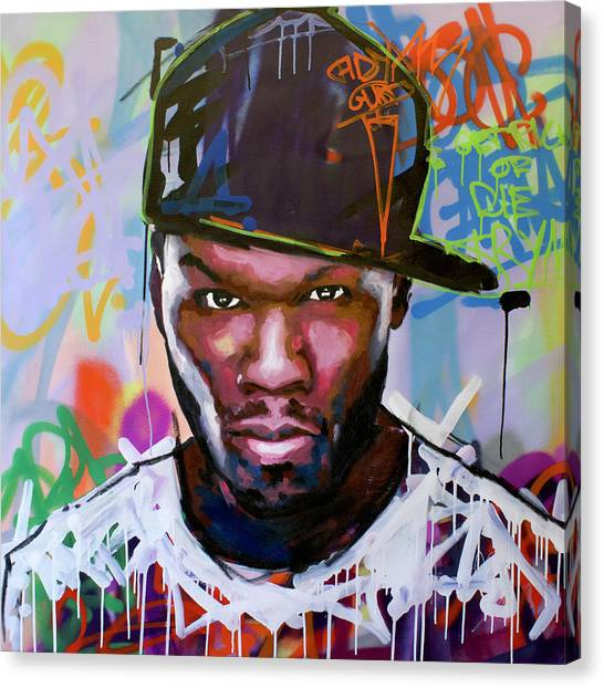 Jay Z Canvas Print - 50 Cent by Richard Day