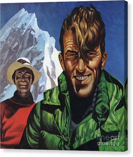 Ice Climbing Canvas Print - Hillary And Tensing In Front Of Mount Everest by Ron Embleton
