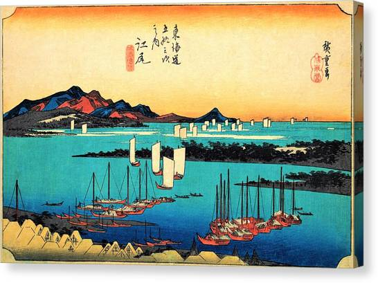Ocean Sunsets Canvas Print - 53 Stations Of The Tokaido - Ejiri, Miho, River, Panorama by Utagawa Hiroshige