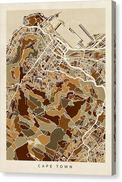 Cape Town Canvas Print - Cape Town South Africa City Street Map by Michael Tompsett