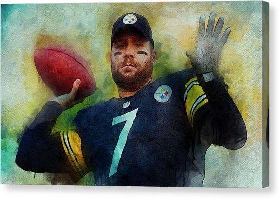 Ben Roethlisberger Canvas Print - Ben Roethlisberger.pittsburgh Steelers. by Anna J Davis