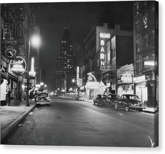 8th Street At Night, 1950 Canvas Print