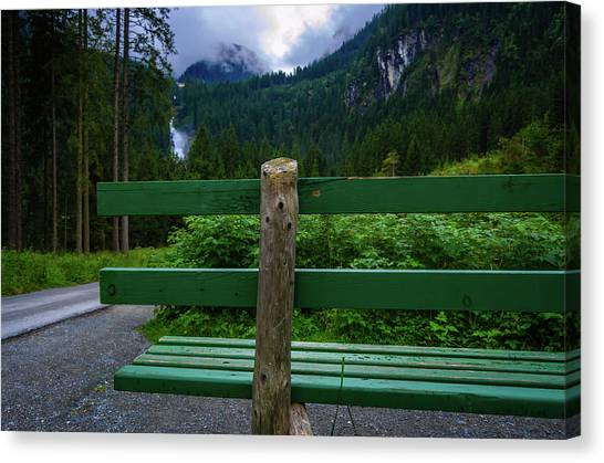 A Bench In The Woods Canvas Print