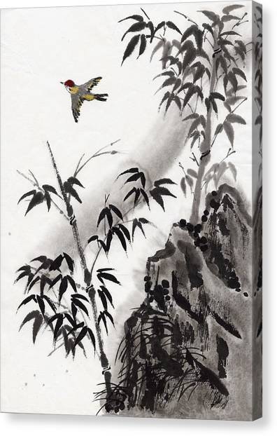 A Bird And Bamboo Leaves, Ink Painting Canvas Print