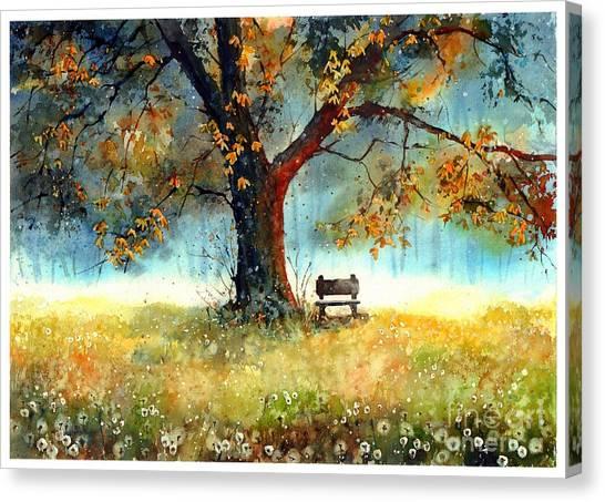 Bench Canvas Print - A Bit Of Nostalgia by Suzann Sines