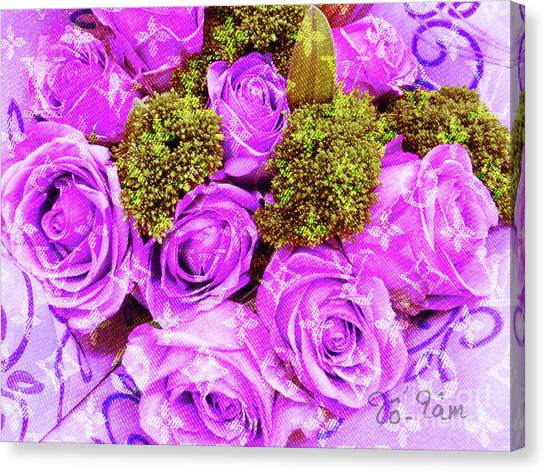 Jimmy Choo Canvas Print - Lv With Lilac Roses  by To-Tam Gerwe