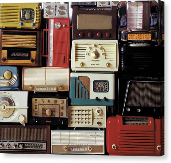 A Bunch Of Old Radios Piled Up, Old Canvas Print