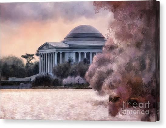 Jefferson Memorial Canvas Print - A Cherry Blossom Dawn by Lois Bryan