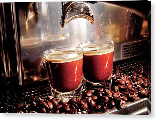 A Close-up View Of An Espresso Machine Canvas Print