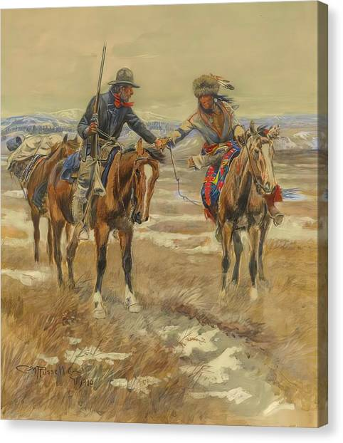 M.a Canvas Print - A Doubtful Handshake by Charles Russell