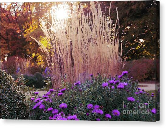 A Flower Bed In The Autumn Park Canvas Print