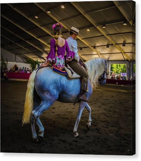 A Girl, A Boy And A Horse Canvas Print