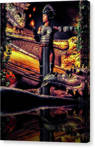 Fire Ball Canvas Print - A Girl And Her Dragons by Bob Orsillo