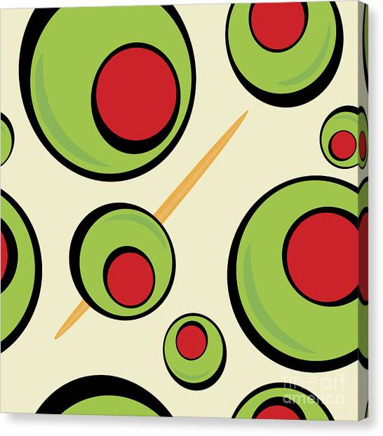 Ingredient Canvas Print - A Green Olives Pattern That Tiles by Arena Creative