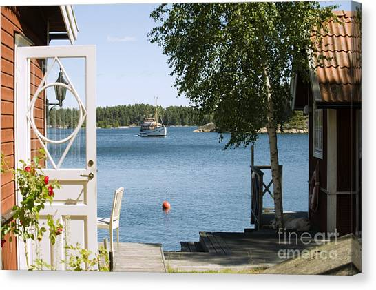 Horizontal Canvas Print - A House In Stockholm Archipelago, Sweden by Bmj