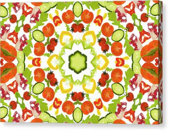 A Kaleidoscope Image Of Salad Vegetables Canvas Print