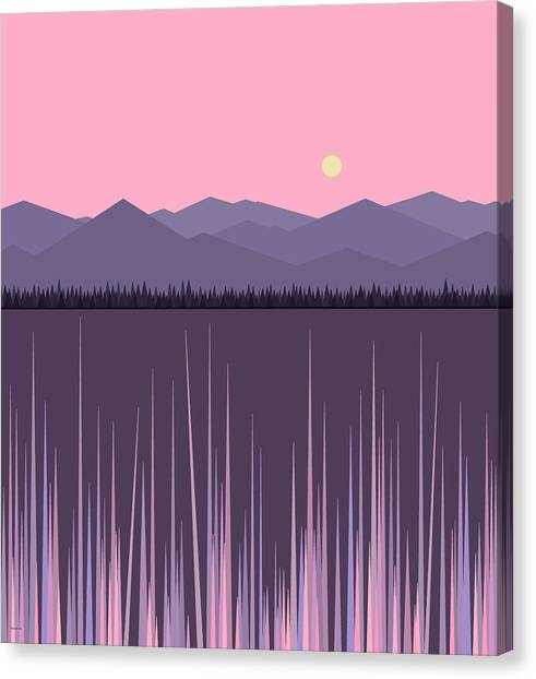 A Lake In The Mountains -  Pink Sky Canvas Print