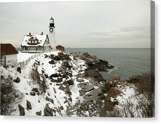 A Large Wreath Is Hung On Portland Head Canvas Print by Allan Wood Photography