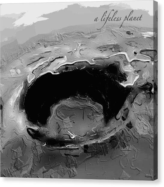 Canvas Print featuring the digital art A Lifeless Planet Black by ISAW Company