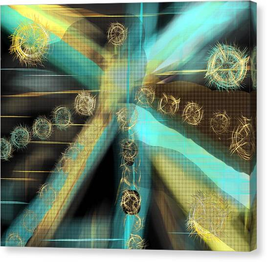 A Light Beams In Gold Brown And Blue Canvas Print