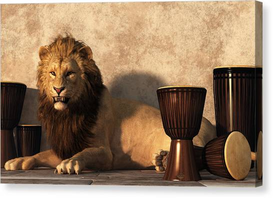 Djembe Canvas Print - A Lion Among Drums by Daniel Eskridge