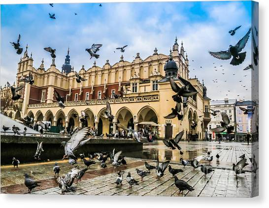 Style Canvas Print - A Lot Of Doves In Krakow Old City by S-f