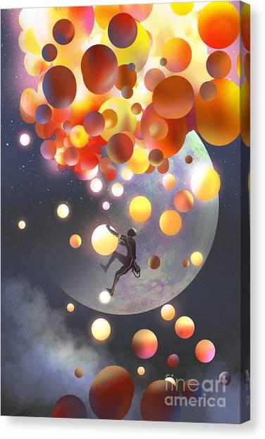 Balls Canvas Print - A Man Climbing Fantasy Balloons Against by Tithi Luadthong