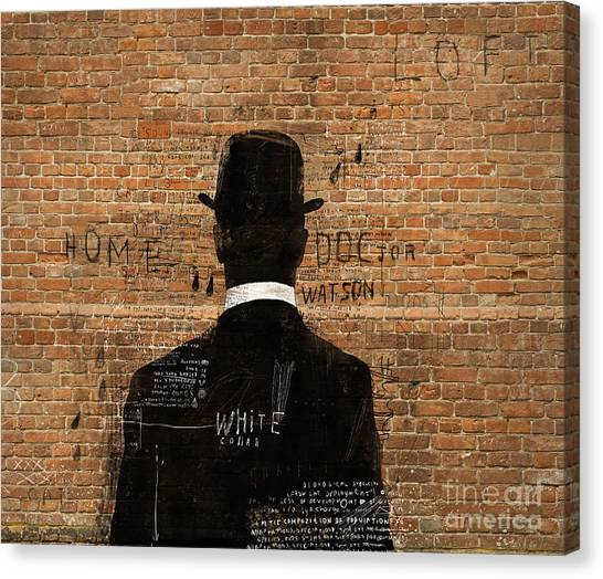 Shadow Canvas Print - A Man In A Hat Who Turned His Back On Us by Dmitriip