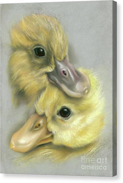 A Pair Of Friendly Ducklings Canvas Print