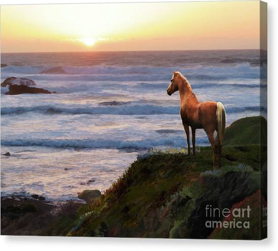 Canvas Print featuring the digital art A Palomino Sunset by Melinda Hughes-Berland