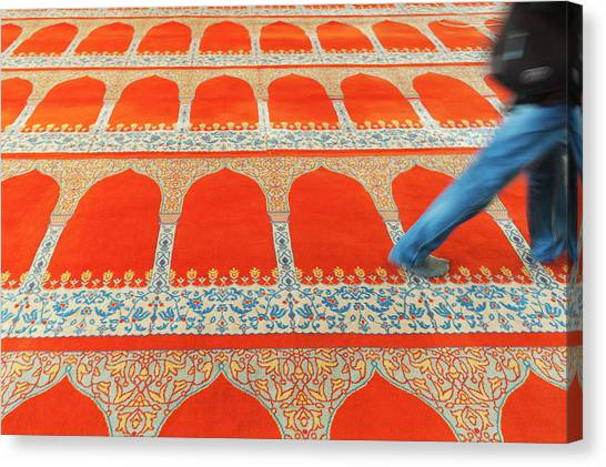 Suleymaniye Canvas Print - A Person Walking Over The Colourful by Keith Levit / Design Pics