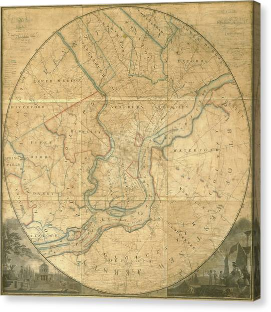 A Plan Of The City Of Philadelphia And Environs, 1808-1811 Canvas Print
