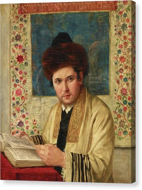 Torah Canvas Print - A Portrait Of A Hassidic Talmud Student by Isidor Kaufmann