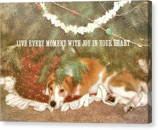 A Puppy For Christmas Quote Canvas Print by JAMART Photography