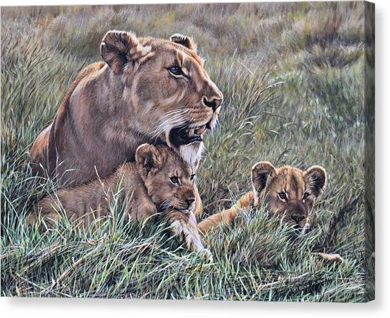 Canvas Print featuring the painting A Quiet Moment Lioness And Lion Cubs by Alan M Hunt