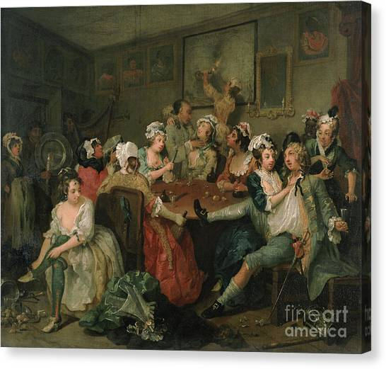 Victorian Garden Canvas Print - A Rake's Progress IIi  The Rake At The Rose Tavern by William Hogarth