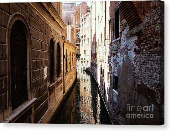 A Shadow In The Venetian Noon Narrow Canal Canvas Print