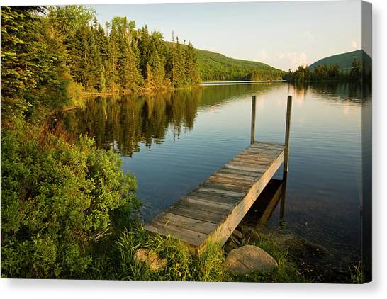 A Small Dock In Long Pond In White Canvas Print by Danita Delimont