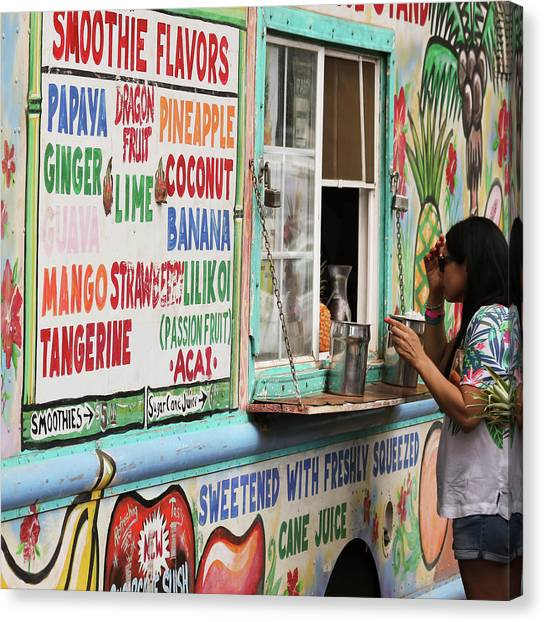 Smoothie Canvas Print - A Smoothie Truck At A Roadside Fruit Stand, Maui, Hawaii by Derrick Neill
