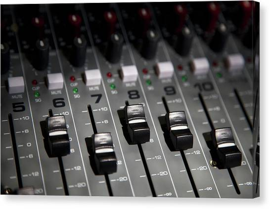 A Sound Mixing Board, Close-up, Full Canvas Print by Tobias Titz