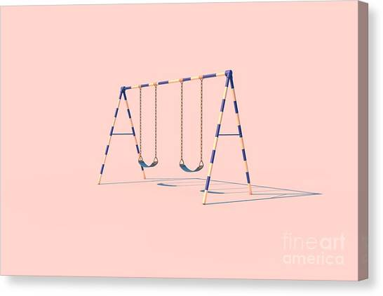 Exercising Canvas Print - A Swingset In Sunlight On A Pink by Fenderosa