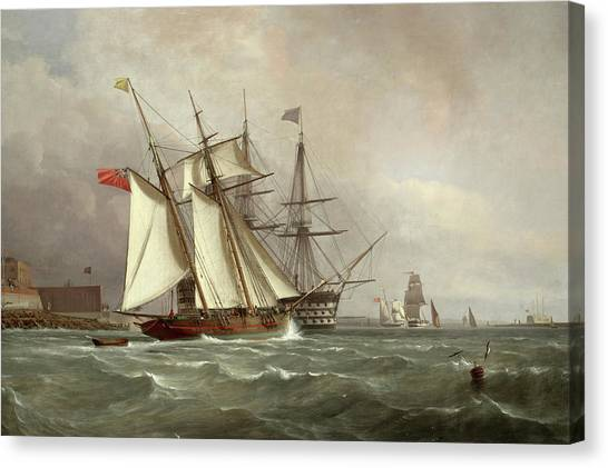 Schooner Canvas Print - A Trading Schooner Overhauling A First Rate Off Garrison Point, Sheerness by Sir Oswald Walters Brierly