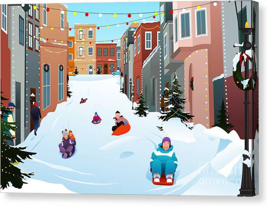Winter Fun Canvas Print - A Vector Illustration Of Kids Sledding by Artisticco