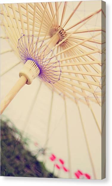 A White Vinteage Parasol Canvas Print